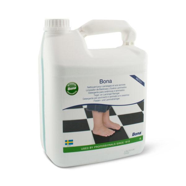 Een can met Bona Harde Vloer,Tegel- en Laminaat reiniger van 5 liter