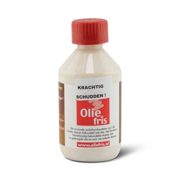 Een flesje Oliefris Onderhoudsolie wit
